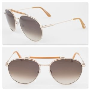 New TOM FORD Brown Aviator Sunglasses